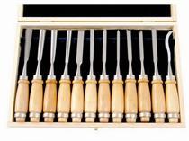 Dláta řezbářská 12ks v dřevěné krabici