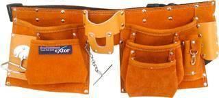 Pás na nářadí kožený, s 9 kapsami a háčkem pro kladivo či klíče