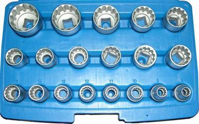 Sada nástrčných drážkových hlavic SPLINE, XZN Genborx