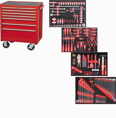 Pojízdná profesionální skřín se 7 zásuvkami vybavená