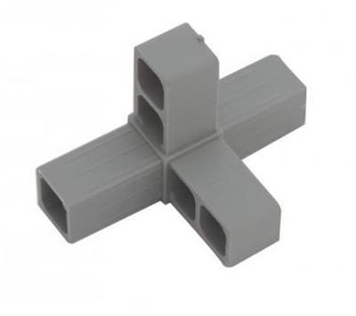 Plastová spojka 4D pro profil 20x20x1,5mm- šedá