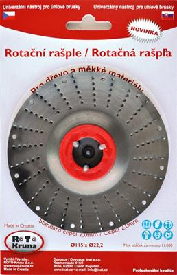 Rotační rašple pro úhlové brusky 115x22,5 mm čepel 2,0mm ROTO (červená)