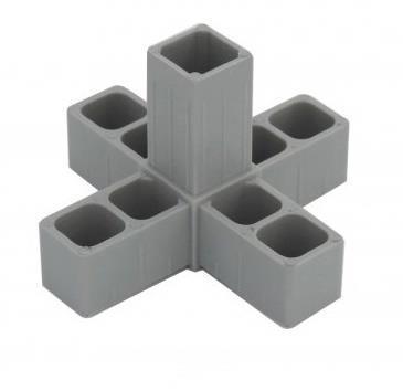 Plastová spojka 5D pro profil 20x20x1,5mm- šedá