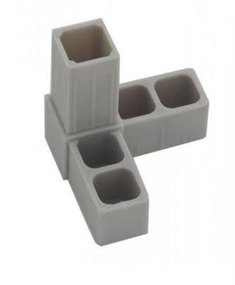 Plastová spojka 3D pro profil 20x20x1,5mm - šedá