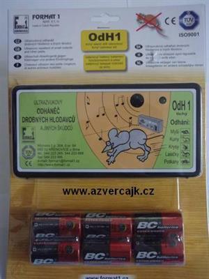 OdH1TB - Odháněč hlodavců ultrazvukový OdH1 tichý, 6ks baterií v blistru