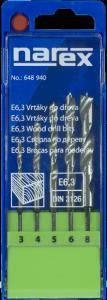 Narex 5-ti dílná sada vrtáků do dřeva s upínáním E 6,3