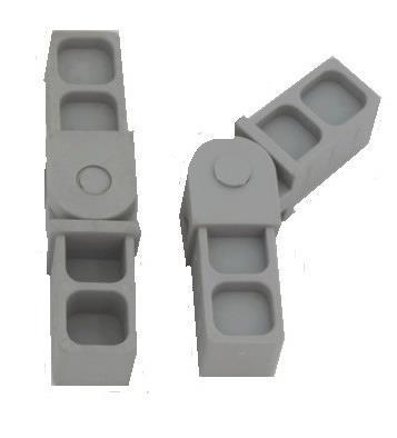 Plastová spojka úhel 90°-270° 20x20x1,5mm- šedá