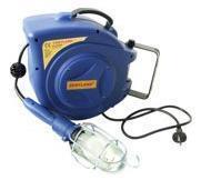 Samonavíjecí buben s elektrickým kabelem a montážní lampou GD 200 modrý