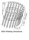 BDC hřebíky páskované ve svitku 16° šroubové (50-70mm) pro KMR 3515