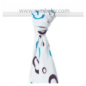 XKKO Bambusová plena/osuška ®BMB Bubbles 90x100 cm - Cyan