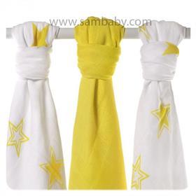 XKKO Bambusová plena ®BMB STARS MIX 70x70cm 3ks - Žlutá (lemon)
