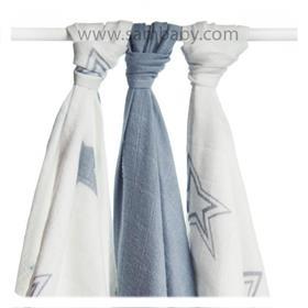 XKKO Bambusová plena ®BMB Stars 70x70 cm 3ks - Silver