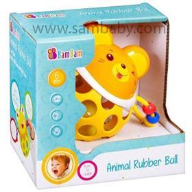 Bambam gumová koule s chrastítkem myš žlutá