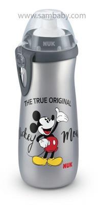 NUK FC Láhev Sports Cup, Disney - Mickey 450 ml, SI push-pull pítko šedá