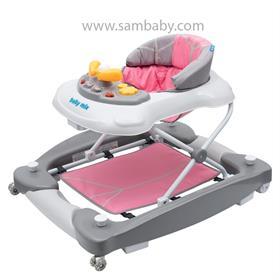 Baby Mix Dětské chodítko s houpačkou a silikonovými kolečky růžové