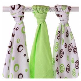 XKKO Bambusová plena ®BMB Spirals and Bubbles 70x70cm 3ks - Lime mix