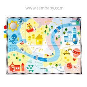 BABY EINSTEIN Podložka na hraní plyšová extra velká 147x104 cm Sea & City, 0m +