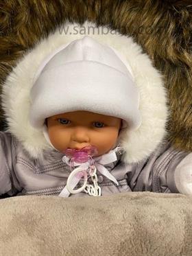 Eevi zimní čepice flauš zavazovací bílá