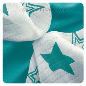 XKKO Bambusová plena ®BMB Stars 30x30cm - Turquoise mix 9ks