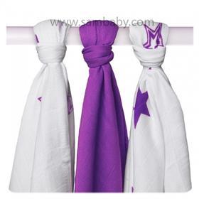 XKKO Bambusová plena ®BMB Stars Mix 70x70cm 3ks - Lilac