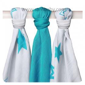 XKKO Bambusová plena ®BMB Stars Mix 70x70cm 3ks - Turquoise