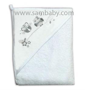 Tega Baby Dětská osuška s kapucí SOVA 100x100 - bílá