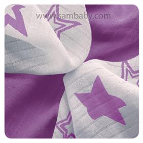 XKKO Bambusová plena ®BMB Stars 30x30cm - Lilac stars mix 9ks