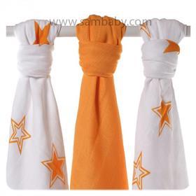 XKKO Bambusová plena ®BMB STARS MIX 70x70cm 3ks - Orange