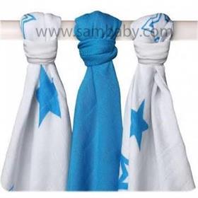 Kopie - XKKO Bambusová plena ®BMB STARS MIX 70x70 cm 3ks - Cyan