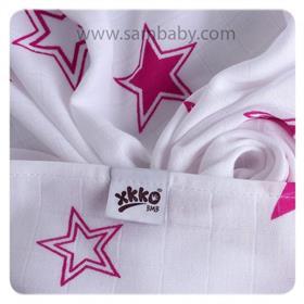 XKKO Bambusová plena/osuška ®BMB Stars 90x100 cm - Magenta