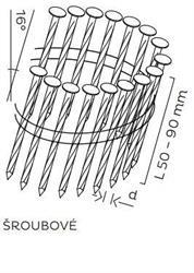 BDC hřebíky páskované ve svitku 16° šroubové (50-90mm) pro KMR 3539
