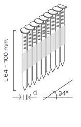 Hřebíky D34° hladké (64 - 100mm) pro KMR 3533