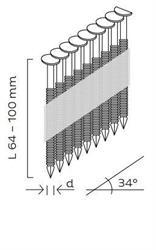 Hřebíky D34° konvexní (64 - 100mm) pro KMR 3533