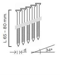 Nerezové páskované hřebíkové vruty 34° s hlavou TX20 šroubové (65, 80mm) pro KMR 3533