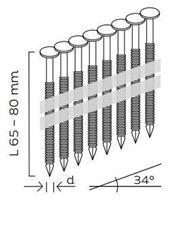 Nerezové páskované hřebíky 34° s čočkovou hlavou konvexní (65, 80mm) pro KMR 3533