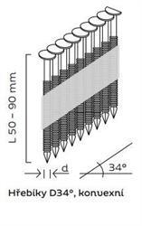 Hřebíky D34° konvexní (50 - 90mm) pro hřebíkovačky BEA, KMR