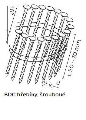 Kopie - BDC hřebíky páskované ve svitku 16° šroubové (50-70mm)