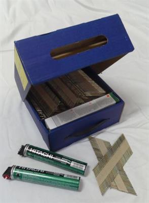 Kopie - Hřebíky do hřebíkovačky s D hlavou DL34 R 3,1x75mm 2000ks + 2x plyn HITACHI