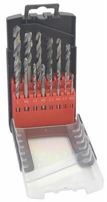Sada strojních závitníků broušených + vrtáky typ D-3, HSSE, M 3-12