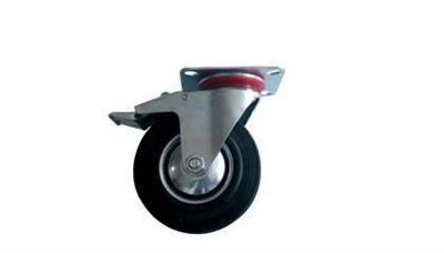 Otočné kolo 125 mm s ploškou a brzdou, nosnost 110kg