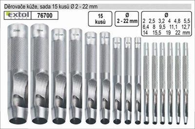 Děrovače do kůže - sada 15ks 2-22mm