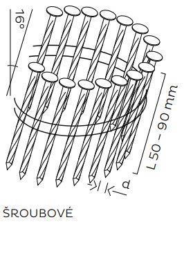 Kopie - BDC hřebíky páskované ve svitku 16° šroubové (50-90mm)