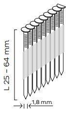 Hřebíky se zápustnou hlavou SK DA (síla drátu 1,8mm) pro KMR 3484, 3884