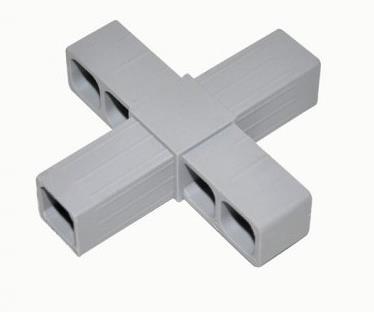Plastová spojka (kříž) pro profil 20x20x1,5mm- šedá