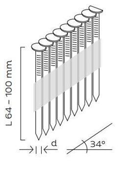 Kopie - Hřebíky D34° hladké (64 - 90mm)