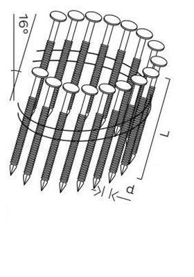 Kopie - DPN hřebíky lepenkové ve svitku 16° hladké (45mm)
