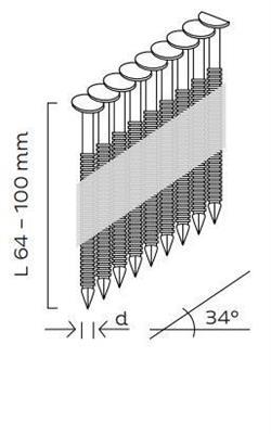 Kopie - Hřebíky D34° konvexní (64 - 100mm)