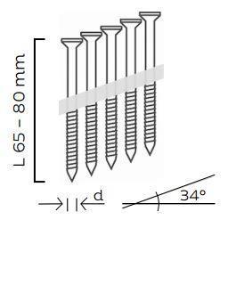 Kopie - Nerezové páskované hřebíkové vruty 34° s hlavou TX20 šroubové (65, 80mm)