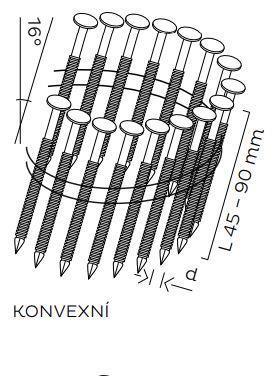BDC hřebíky páskované ve svitku 16° konvexní (45-90mm)