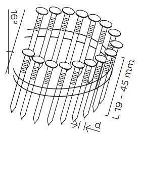 Kopie - DPN hřebíky lepenkové ve svitku 16° hladké (19-45mm)